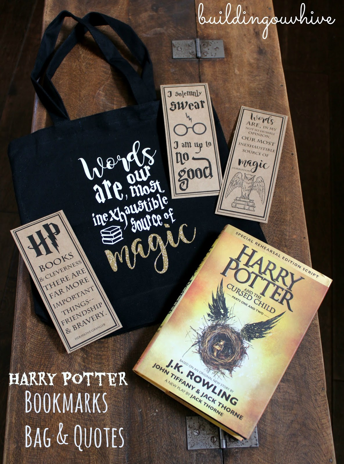 building our hive: harry potter bookmarks, bag and quotes
