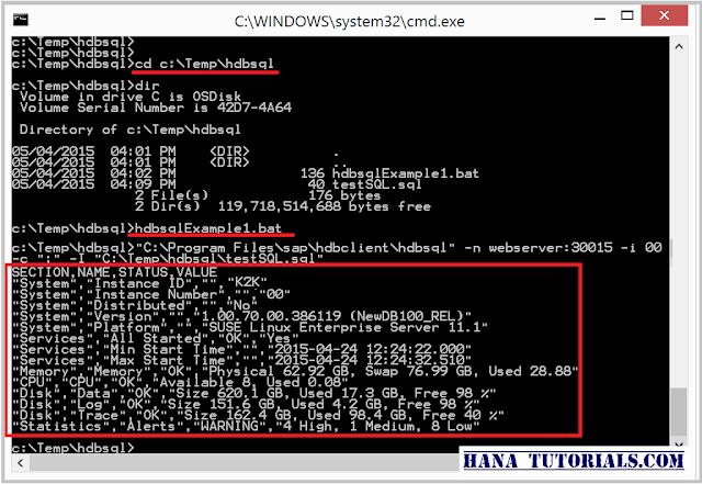 SAP HANA excuting batch file with HDBSQL