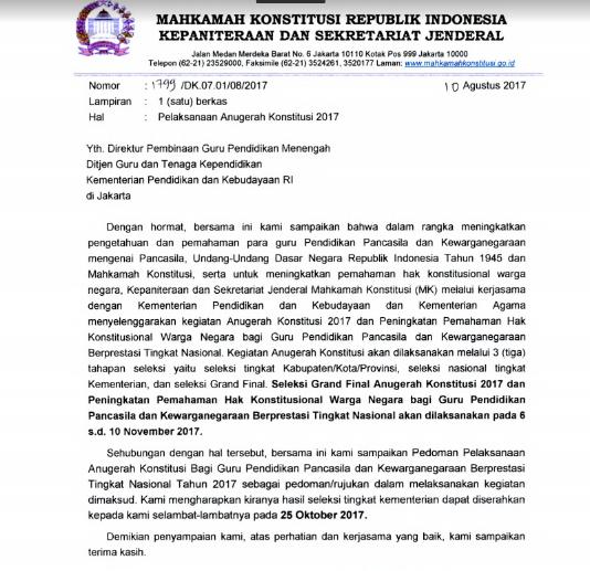 Download Surat Edaran MAHKAMAH KONSTITUSI REPUBLIK INDONESIA Tentang Pelaksanaan Lomba Anugerah Konstitusi Bagi Guru PPKn Tingkat Nasional Tahun 2017 Untuk Guru SD/MI, SMP/MTS