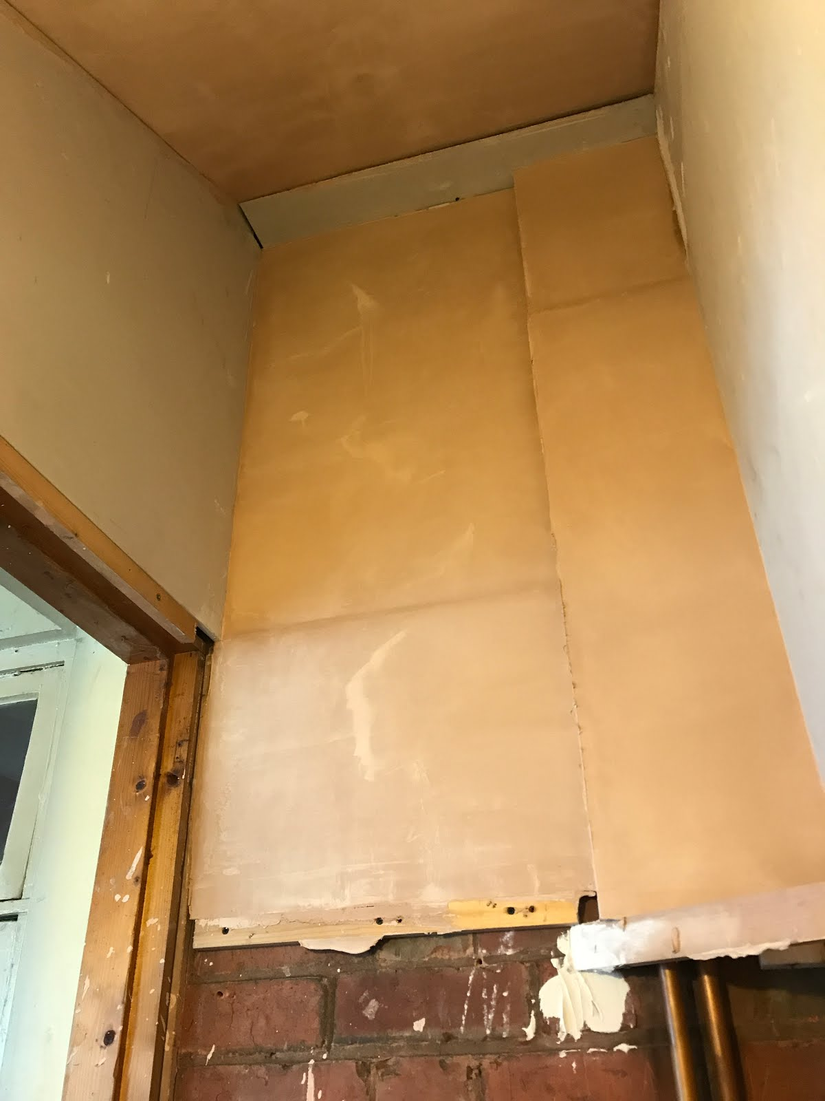 Plastering in a cupboard space