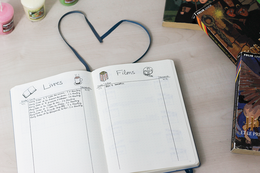 Bullet journal collections livres films
