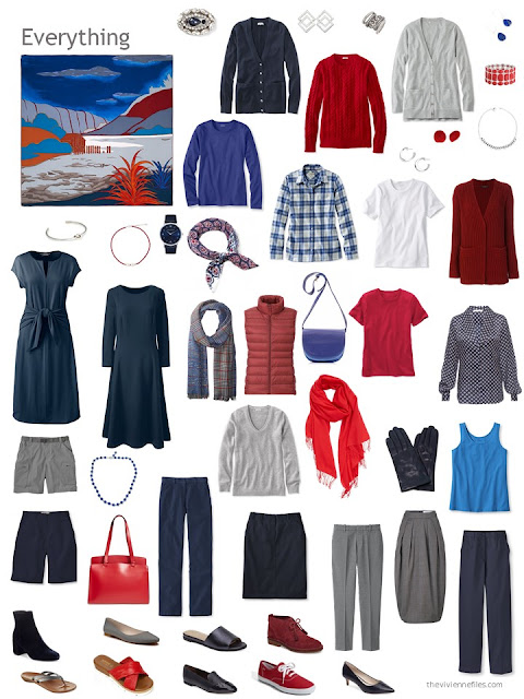 capsule wardrobe in navy, grey and shades of red