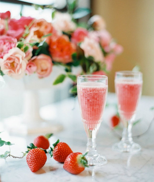 flowers strawberry cocktails for bridal shower