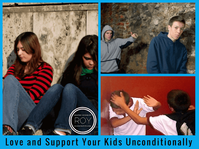 "Photograph of six American school age children experiencing adolescent LGBT bullying, depression, and self-harm with text across the bottom of the image that says ""Love and Support Your Kids Unconditionally"""