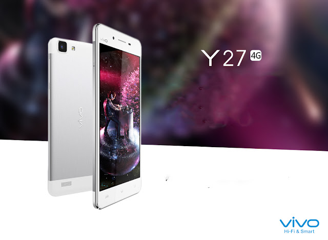 Vivo Y27 Specifications - LAUNCH Announced 2014, December DISPLAY Type IPS LCD capacitive touchscreen, 16M colors Size 4.7 inches (~65.3% screen-to-body ratio) Resolution 720 x 1280 pixels (~312 ppi pixel density) Multitouch Yes BODY Dimensions 136.9 x 68.1 x 7 mm (5.39 x 2.68 x 0.28 in) Weight 137 g (4.83 oz) SIM Dual SIM (Micro-SIM, dual stand-by) PLATFORM OS OS Android OS, v4.4.4 (KitKat) CPU Quad-core 1.2 GHz Cortex-A53 Chipset Qualcomm MSM8916 Snapdragon 410 GPU Adreno 306 MEMORY Card slot microSD, up to 128 GB (dedicated slot) Internal 16 GB, 1 GB RAM CAMERA Primary 8 MP, autofocus, LED flash Secondary 5 MP Features Geo-tagging, touch focus, face detection Video 1080p@30fps NETWORK Technology GSM / HSPA / LTE 2G bands GSM 850 / 900 / 1800 / 1900 - SIM 1 & SIM 2 3G bands HSDPA 850 / 900 / 2100 4G bands LTE band 1(2100), 3(1800), 7(2600) Speed HSPA 42.2/5.76 Mbps, LTE Cat4 150/50 Mbps GPRS Yes EDGE Yes COMMS WLAN Wi-Fi 802.11 b/g/n, Wi-Fi Direct, hotspot Infrared Port Yes GPS Yes, with A-GPS, GLONASS, BDS USB microUSB v2.0 Radio FM radio Bluetooth v4.0, A2DP, EDR FEATURES Sensors Sensors Accelerometer, gyro, proximity, compass Messaging SMS(threaded view), MMS, Email, Push Mail, IM Browser HTML5 Java No SOUND Alert types Vibration; MP3, WAV ringtones Loudspeaker Yes 3.5mm jack Yes BATTERY  Non-removable Li-Po 2260 mAh battery Stand-by Up to 410 h (2G) / Up to 410 h (3G) Talk time Up to 13 h (2G) / Up to 13 h (3G) Music play Up to 32 h MISC Colors White SAR EU 0.40 W/kg (head)     0.48 W/kg (body)     - Active noise cancellation with dedicated mic - MP4/H.264 player - MP3/WAV/FLAC/eAAC+ player - Photo/video editor - Document viewer