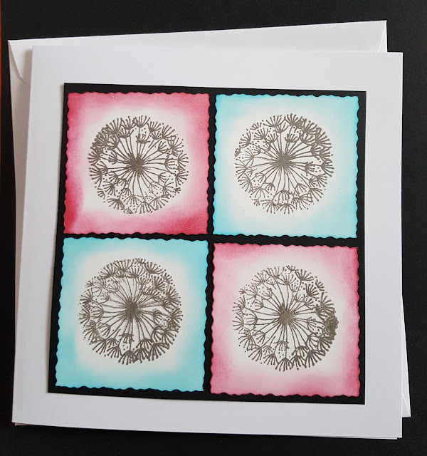 Dandelion heads stamped and coloured square card