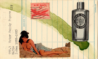 J.D. Salinger vintage reclining nude woman breasts tits airmail postage stamp black watch shave lotion bottle ad library due date card Dada Fluxus mail art collage