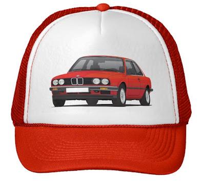 BMW E30 (3 Series) illustration trucker hats @Zazzle Store