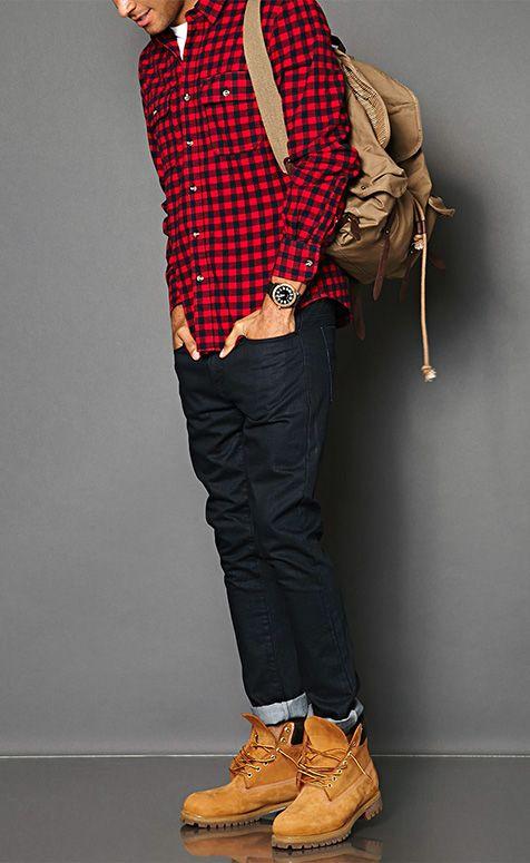 Look Masculino xadrez vermelho tendencia inverno 2018 moda masculina