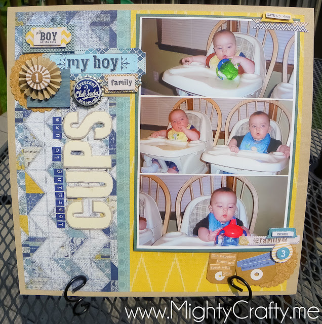 3-Photo Collage Layout with Boys Rule June 2012 kit - MightyCrafty.me