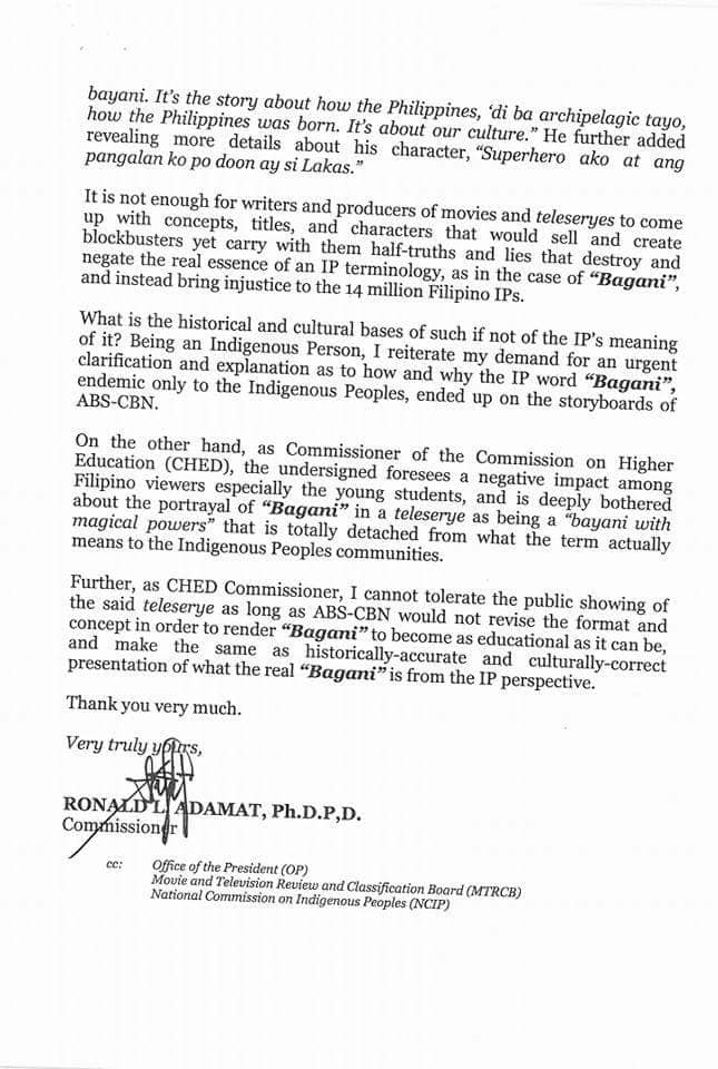 CHED commissioner hits ABS-CBN for misuse of term 'Bagani'