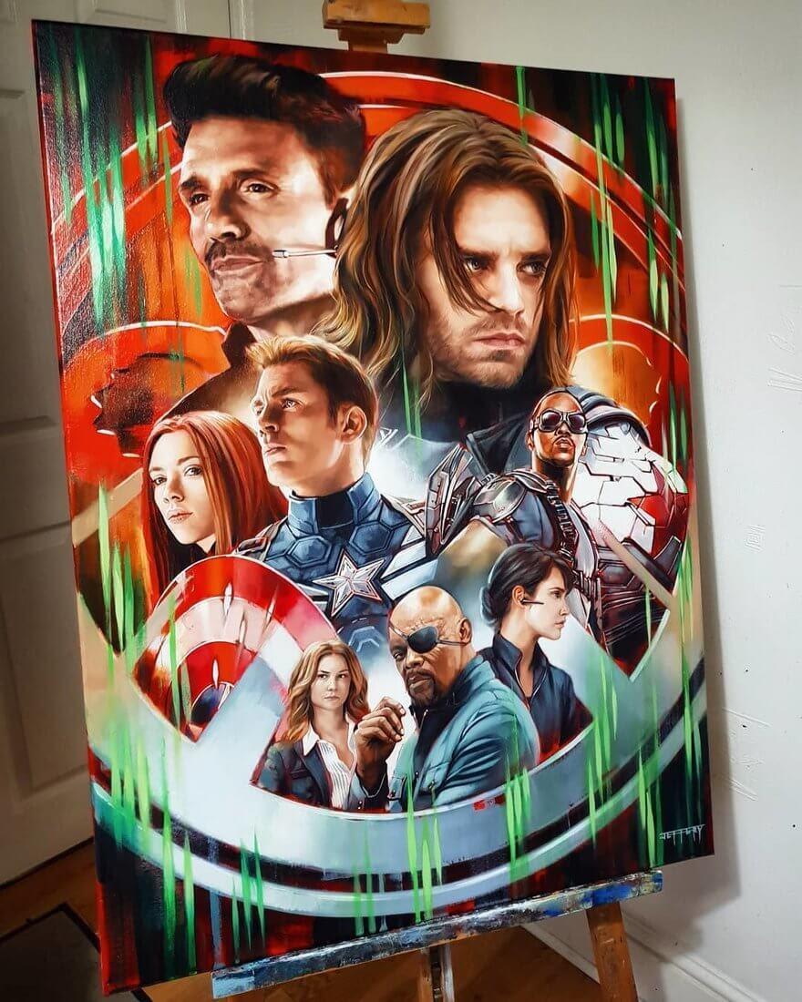 01-Avengers-Winter-Soldier-Ben-Jeffery-Superhero-and-Villain-Movie-Paintings-www-designstack-co