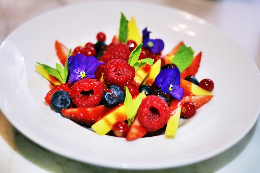fruit salad flowers vegan eat