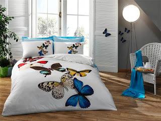 Taç Butterflies Mavi 3D Saten Nevresim Takımı Tek Kişilik