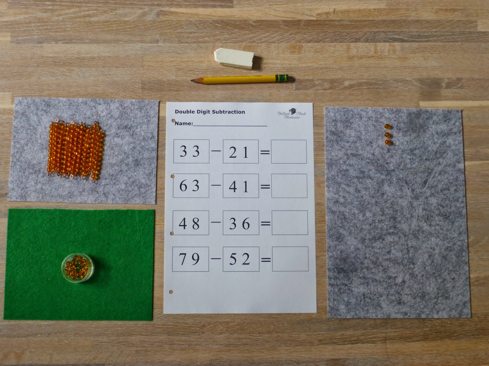 Family Fecs Montessori Activity Static Subtraction With