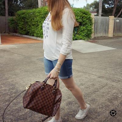 awayfromblue instagram themepark style denim shorts embroidered blouse converse LV speedy