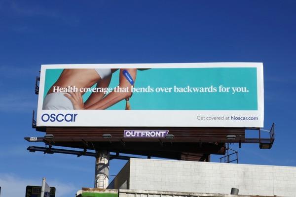 Health coverage bends over backwards Oscar billboard