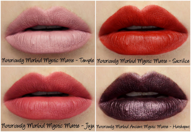 Notoriously Morbid Mystic Mattes - Temple, Sacrifice and Juju + Ancient Mystic Matte - Hatsheput Swatches & Review