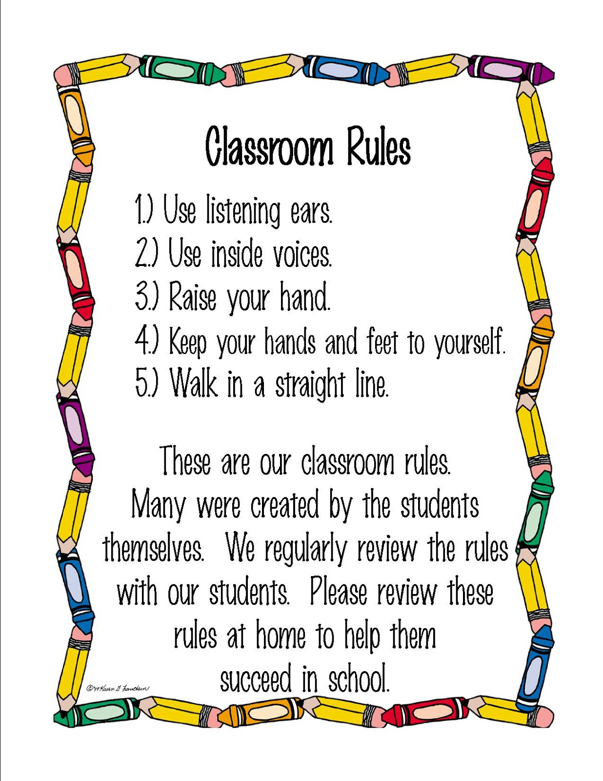 Mrs Durrence S Pre K Class Class Rules