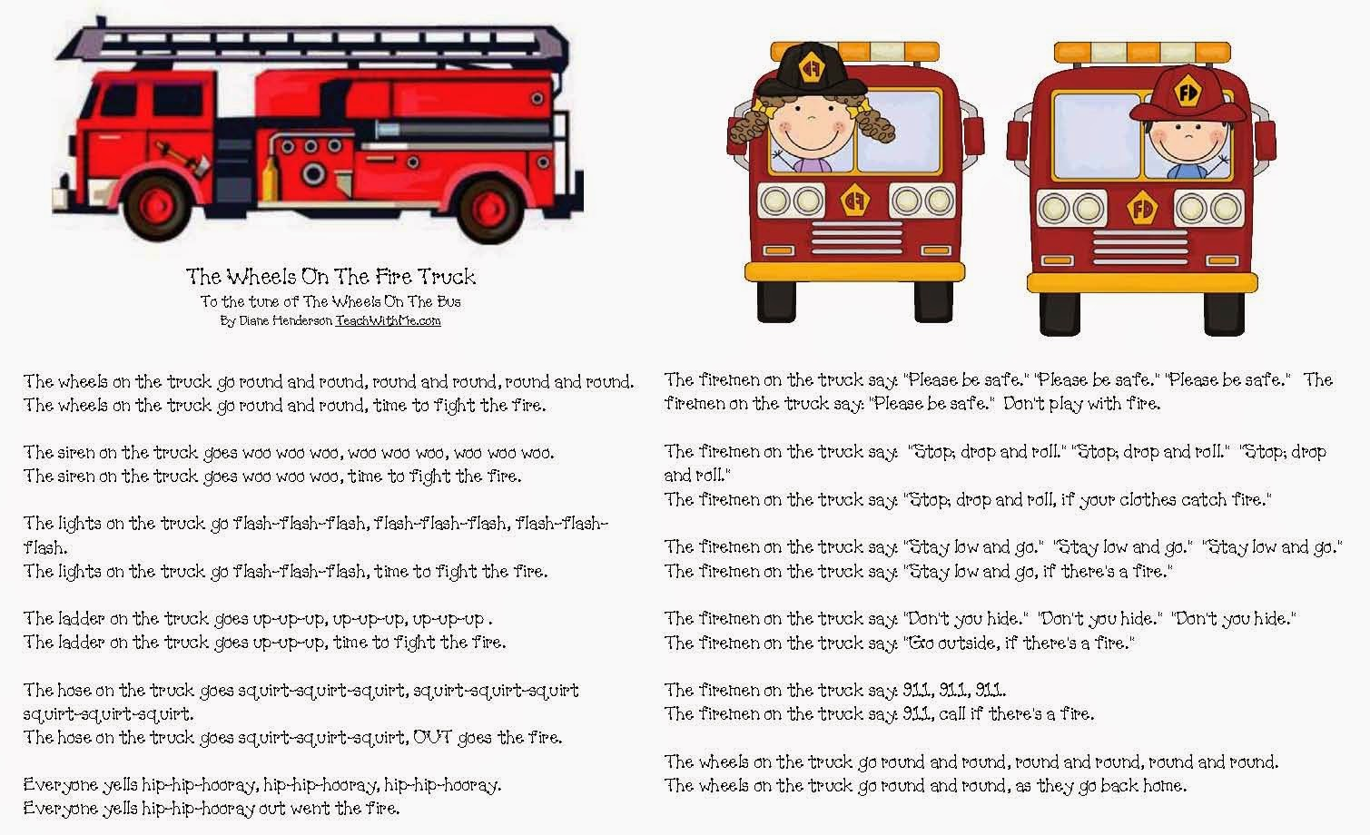 Classroom Freebies The Wheels On The Fire Truck Go Round