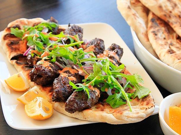 Kofte Kebabs With Spicy Harissa Yogurt Sauce and Grilled Flatbread (Minced Lamb Kebabs)