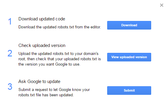 ask Google to update robots.txt