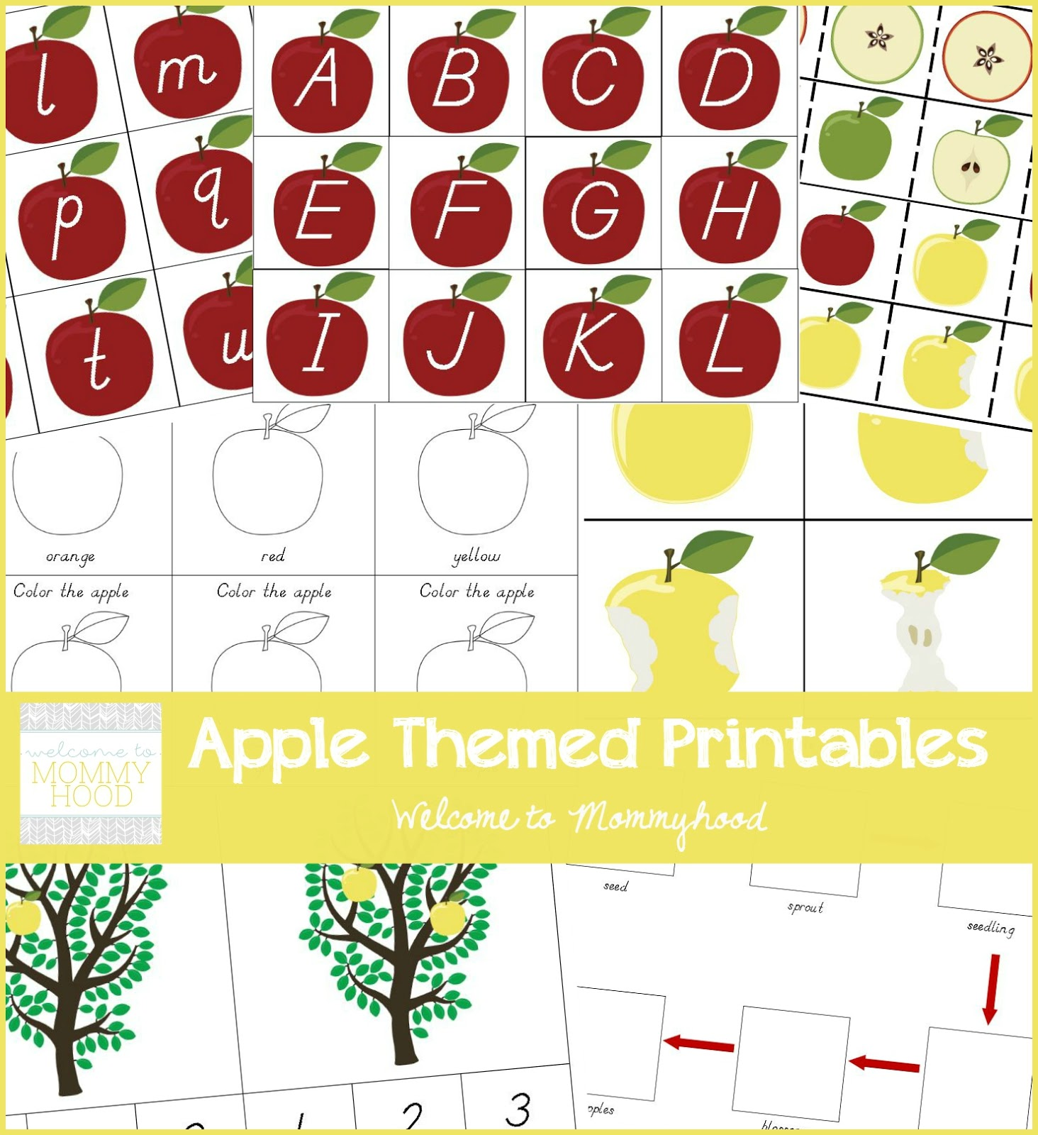 Welcome To Mommyhood Apple Themed Printable Pack