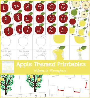 Free apple themed printable pack for toddlers and preschoolers by Welcome to Mommyhood #montessoriinspired, #montessori, #preschool, #fallactivitiesforkids