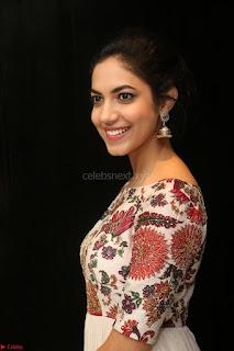 Ritu Varma smiling face Cream Anarkali dress at launch of OPPO New Selfie Camera F3 ~  Exclusive 013.JPG
