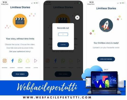 Limitless Stories - Applicazione per caricare storie senza limiti su Instagram, Whatsapp e Facebook