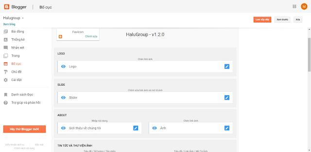 Mẫu giao diện blogspot công ty kèm bán sản phẩm Halugroup