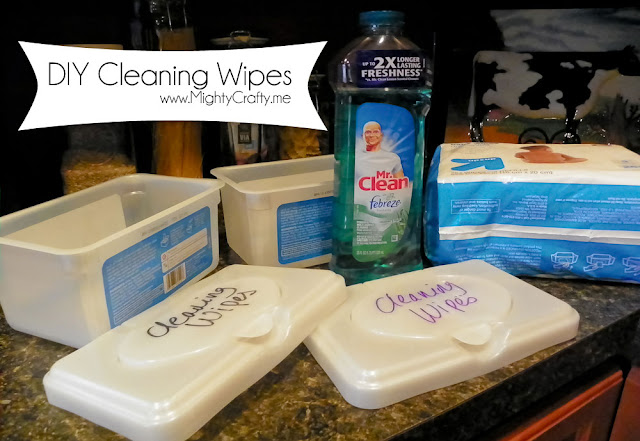 DIY Cleaning Wipes - www.MightyCrafty.me