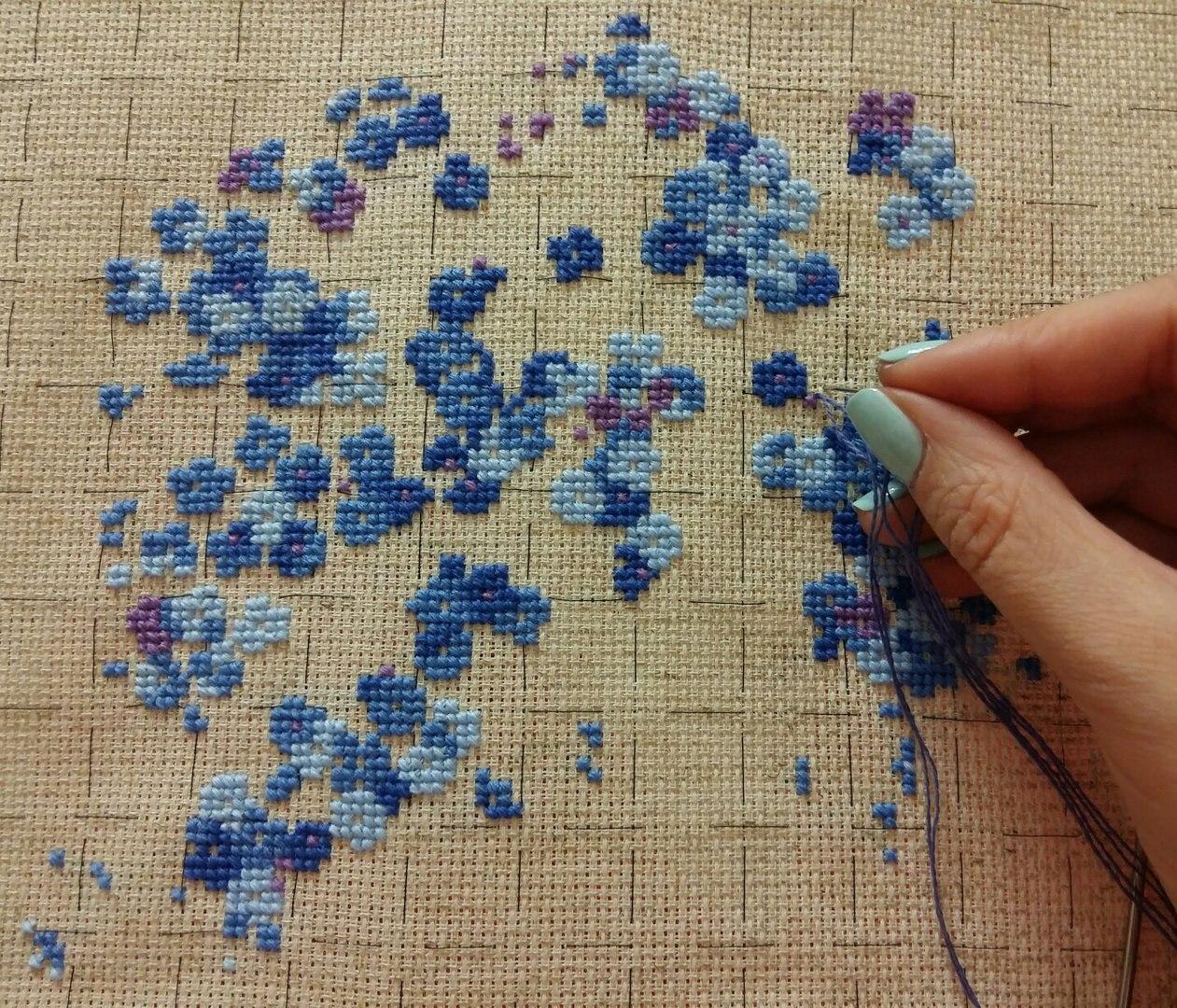 Вышивка незабудка риолис