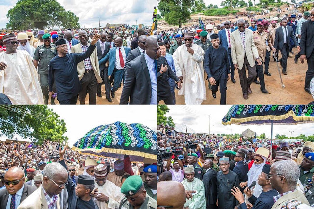 Osinbajo and Fashola visit Niger State for an on-the-spot assessment of the collapsed Mokwa-Jebba Bridge that connects the North and the South