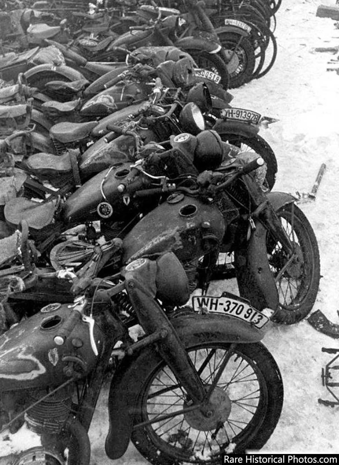 Captured German motorcycles at Stalingrad. 1943.