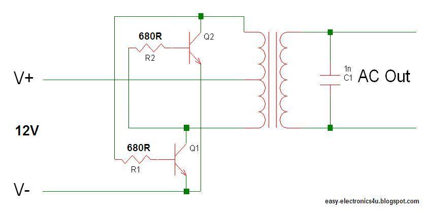 Electronic Transistor Inverter Circuit