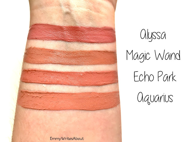 ColourPop Ultra Satin Lip Swatches Magic Wand, ColourPop Alyssa, ColourPop Echo Park, ColourPop Aquarius