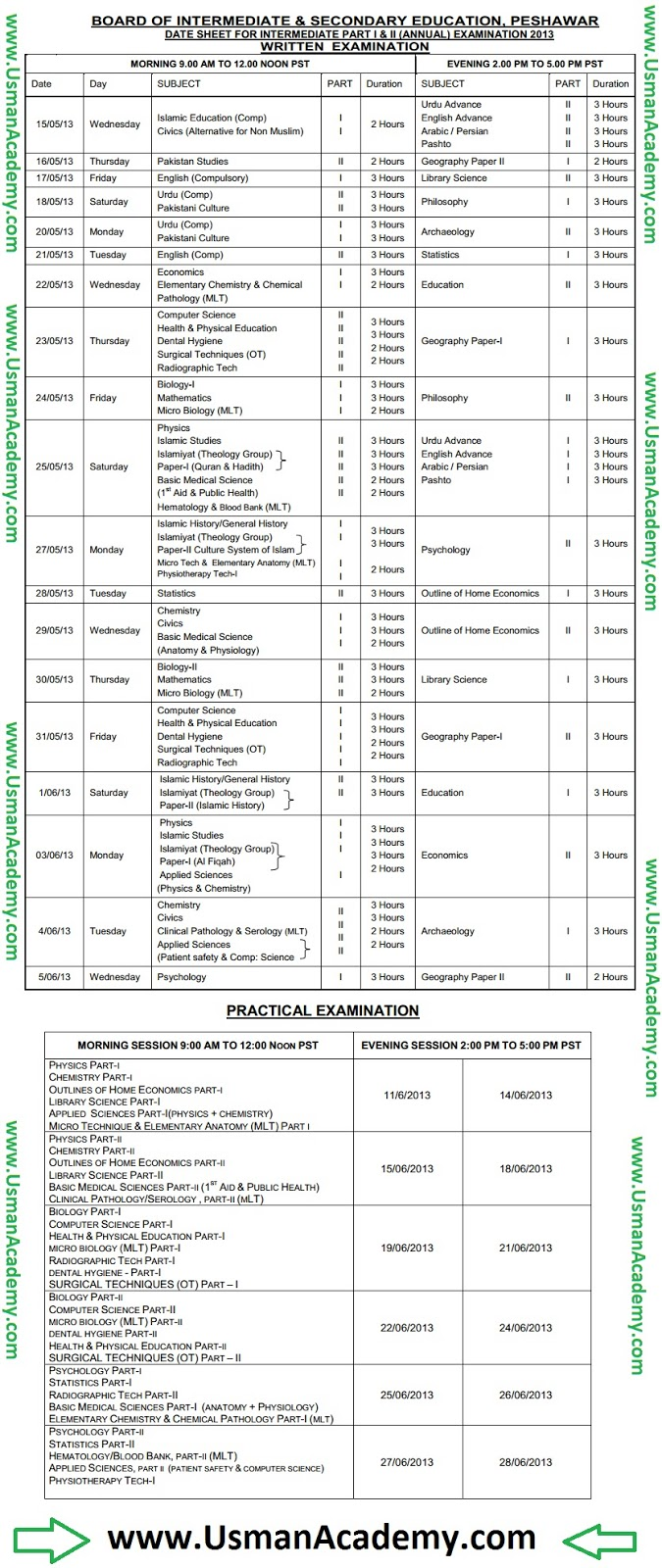 PESHAWAR Board Inter 1st Year 2nd Year Date Sheet 2019 Online