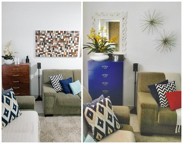 antes e depois comoda restaurada azul Fabiana Tardochi reciclar e decorar