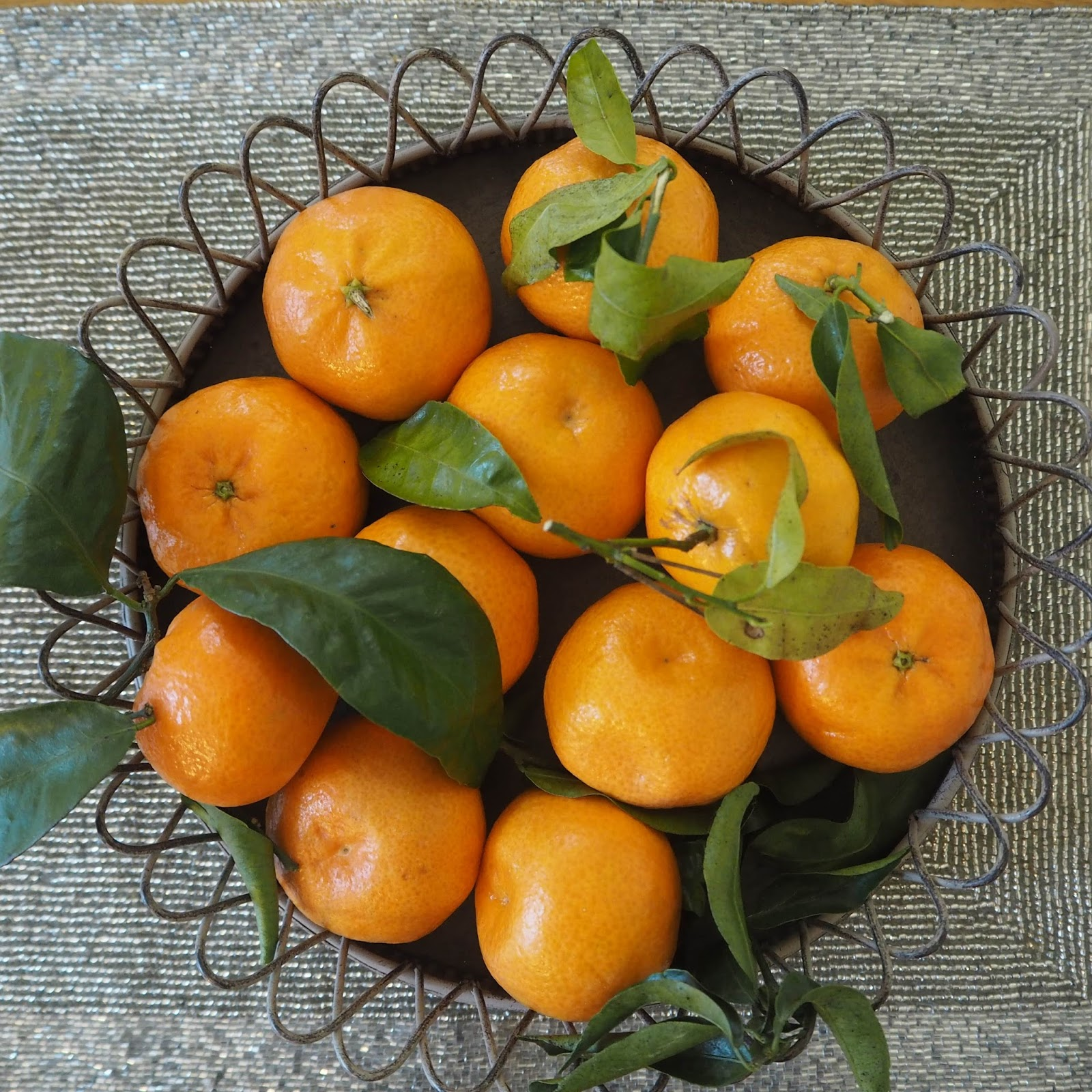 Clementines with leaves, Christmas