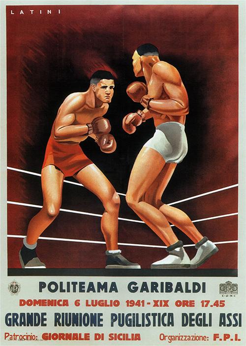 Politeama Garibaldi - Vintage Italian Boxing Poster, advertising, classic posters, free download, free posters, free printable, graphic design, italian poster, printables, retro prints, vintage, vintage posters, vintage printables, sports
