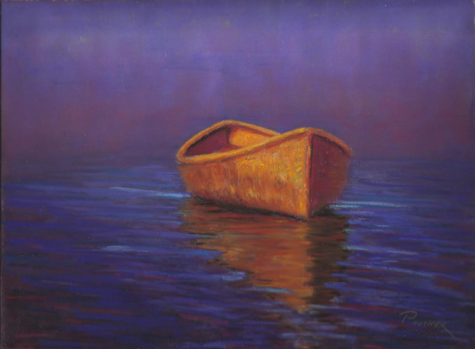 Adrift Boat Seascape Pastel Painting By Poucher