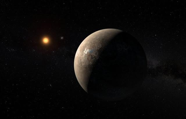Proxima b orbitando sua estrela anã vermelha
