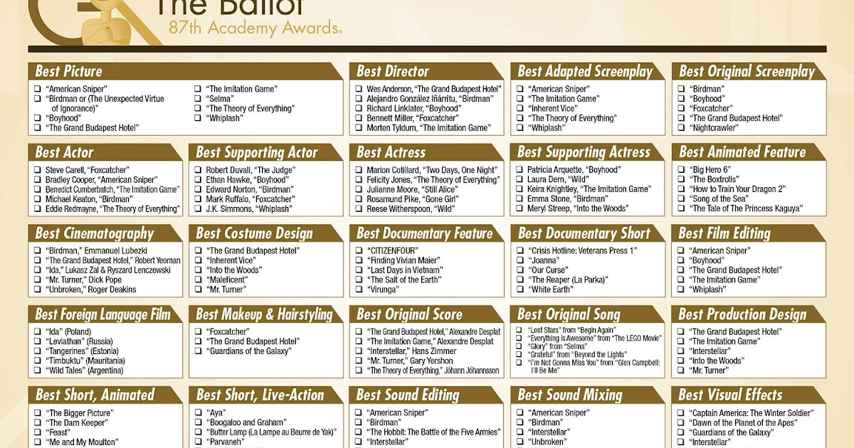 Oscars 2015 download our printable ballot the gold - Academy awards 2017 download ...