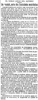 Recorte de La Época de 9 de enero de 1919, encuentro de ajedrez entre el Casino de Madrid y el Círculo de Bellas Artes