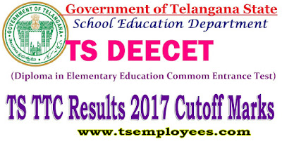 TS DEECET DIETCET Results 2017 TS TTC Rank Cards Cutoff Marks for TS Admissions