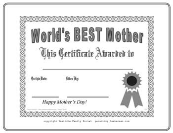 Mother's Day Certificates : Let's Celebrate!