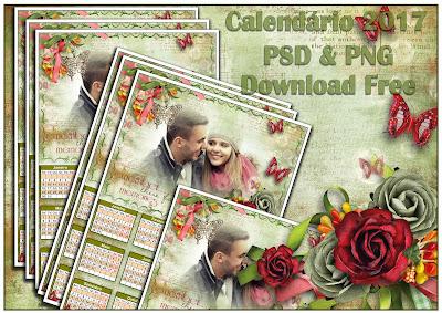 Calendário 2017 PSD & PNG - Romance