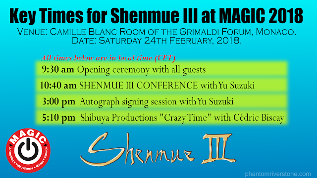 Key Times for Shenmue III at MAGIC 2018