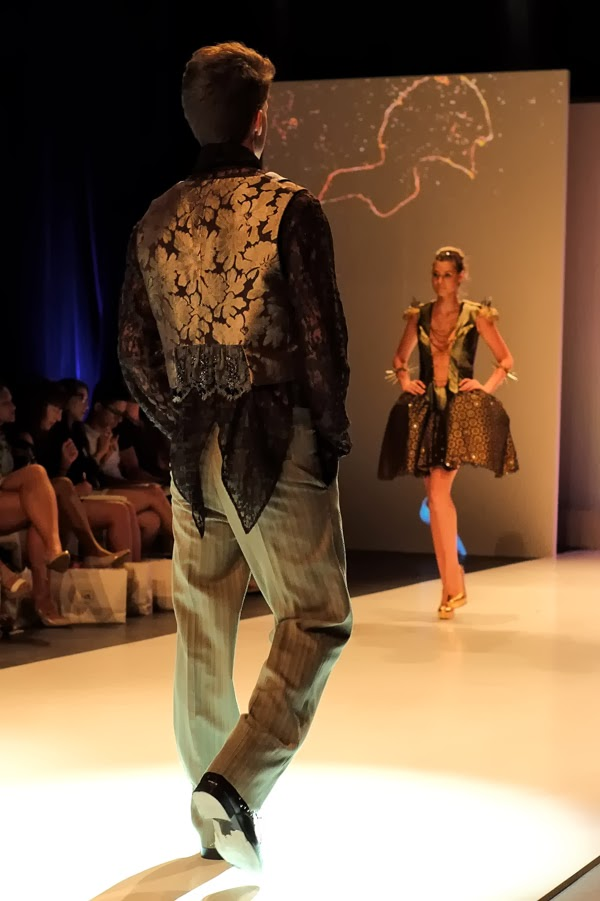 Li Tung Chou;  gold floral pattern vest over black lace shirt and pin strip pant - Menswear : Raffles Graduate Fashion Parade 2013 Photography by Kent Johnson.